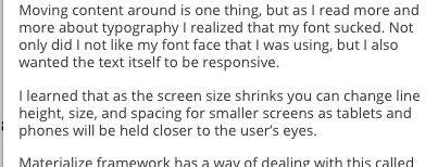Text on small screens