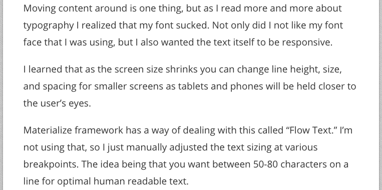 Text on Large screens